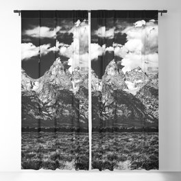 Mountain Summer Escape - Black and White Tetons Blackout Curtain