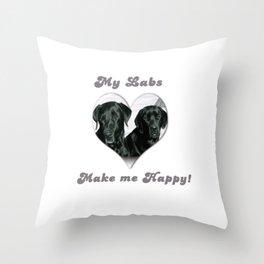 "Lab Love ""My Labs Make me Happy"" Throw Pillow"