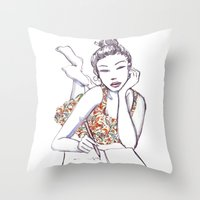 writing Throw Pillows featuring Woman Writing by Stevyn Llewellyn