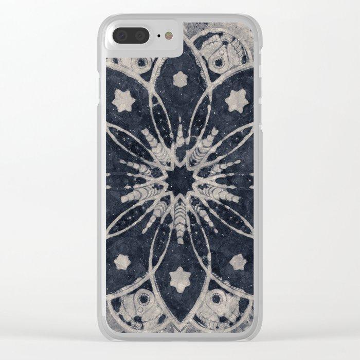 MANDALA BLUE BOHEMIAN GEOMETRIC ABSTRACT Clear iPhone Case