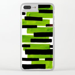 Lime Green Primitive Stripes Mid Century Modern Minimalist Watercolor Gouache Painting Colorful Stri Clear iPhone Case