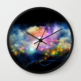 Space Clouds Wall Clock