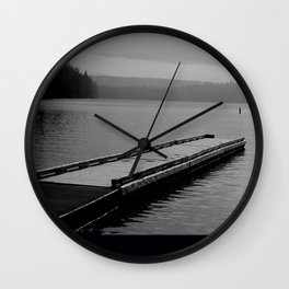 Suttle Lake in Gray and Black Wall Clock