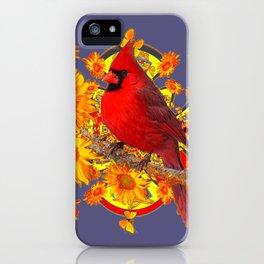 GOLDEN SUNFLOWERS RED CARDINAL GREY ART iPhone Case