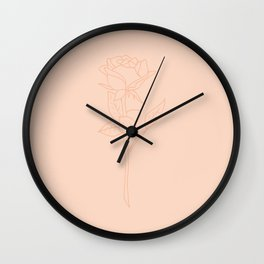 Minimal Rose 02 Pink Peach Wall Clock
