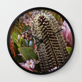 Banksia and Protea blooms Wall Clock