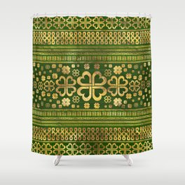 Shamrock Four-leaf Clover Green Wood and Gold Shower Curtain