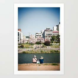 By the Kamogawa in Spring, Kyoto Art Print