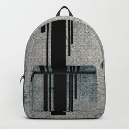 Geometric Grunge Blue - Gray Vertical Black Stripes Polka Dots Illustration Backpack