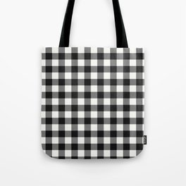 Black and White Country Buffalo check with digital canvas texture Tote Bag