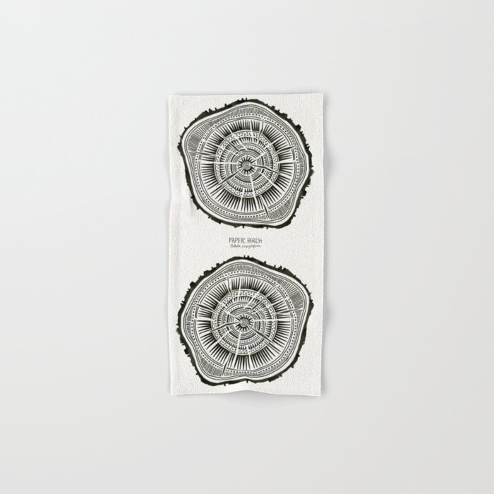 Paper Birch – Black Tree Rings Hand & Bath Towel