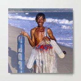 FISHERMAN on the BEACH in VIETNAM Metal Print