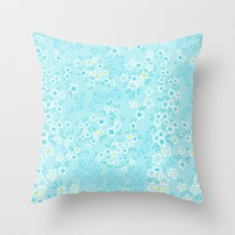 Forget Me Knot - Little Flowers on aqua Throw Pillow