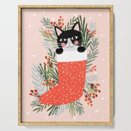 Cat on a sock. Holiday. Christmas Serving Tray