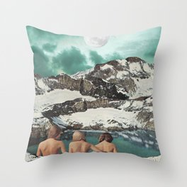 Moon Bathing Throw Pillow