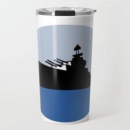 World War Two Battleship Destroyer Oval Retro Travel Mug