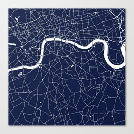 Navy on White London Street Map Canvas Print