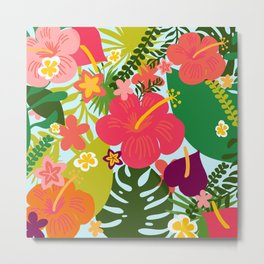 Bright Tropical Digital Floral by Design by Cheyney - Illustrated Flowers Metal Print