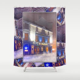 Standing Outside A Warm Irish Pub On A Cold Winter Night In Galway Shower Curtain