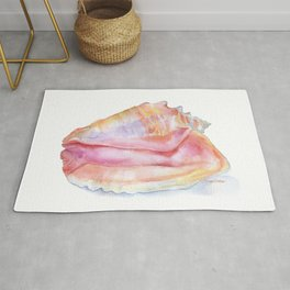 Conch Seashell Watercolor Rug