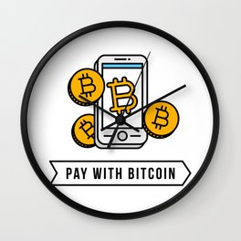 Pay With Bitcoin (Mobile Payments) Icon Wall Clock