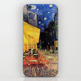 The cafe terrace on the place du forum, Arles, at night, by Vincent van gogh.  iPhone Skin