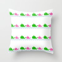 preppy Throw Pillows featuring Preppy MaMa Whale by Jozane House