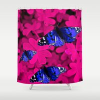 butterfly Shower Curtains featuring  Butterfly  by Saundra Myles