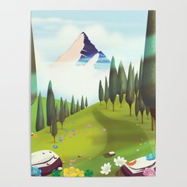 Alpine Meadow landscape Poster