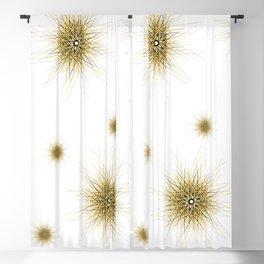 Minimalist yellow geometric lines mandala star Blackout Curtain