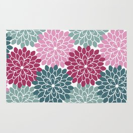 Petals in Rose, Maroon and Light and Dark Cyan Rug