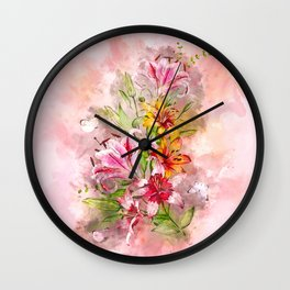 Lilies Bunch #floral #watercolor Wall Clock