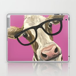 Pink Cow with glasses art, Cute Cow With Glasses Laptop & iPad Skin