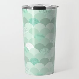 Geometrical mint green white elegant scallop pattern Travel Mug