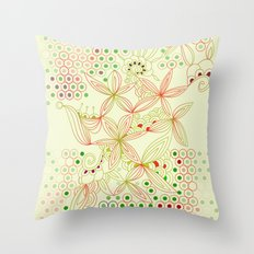 Red, green and ochre tangle Throw Pillow