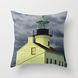 Cabrillo National Monument Lighthouse by San Diego in California Throw Pillow