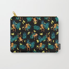 Tropical Monkey Banana Bonanza on Black Carry-All Pouch
