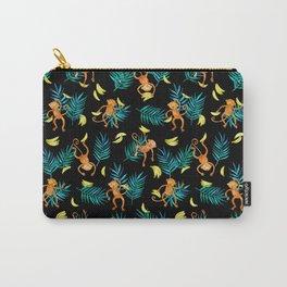Tropical Monkey Banana Bonanza on Black Carry-All Pouch