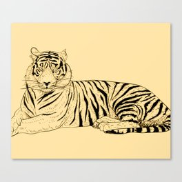 Animal Art Big Cats Simple Tiger On Yellow Canvas Print