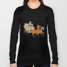 Stagecoach Driver Horse Cartoon Long Sleeve T-shirt