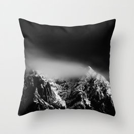 Black and white long exposure of clouds above mountain Throw Pillow