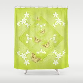The Queen butterfly and gold butterflies in vibrant green Shower Curtain