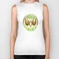 sloths Biker Tanks featuring Sloths in Love by Kirsten Sevig