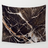 geology Wall Tapestries featuring Black Marble by Santo Sagese