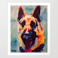 german shepherd Art Prints featuring German Shepherd by Heather Hartley