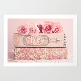 Pretty roses and books  Art Print