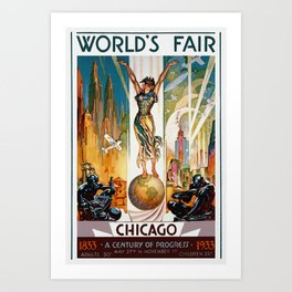 Vintage World's Fair Chicago IL 1933 Art Print