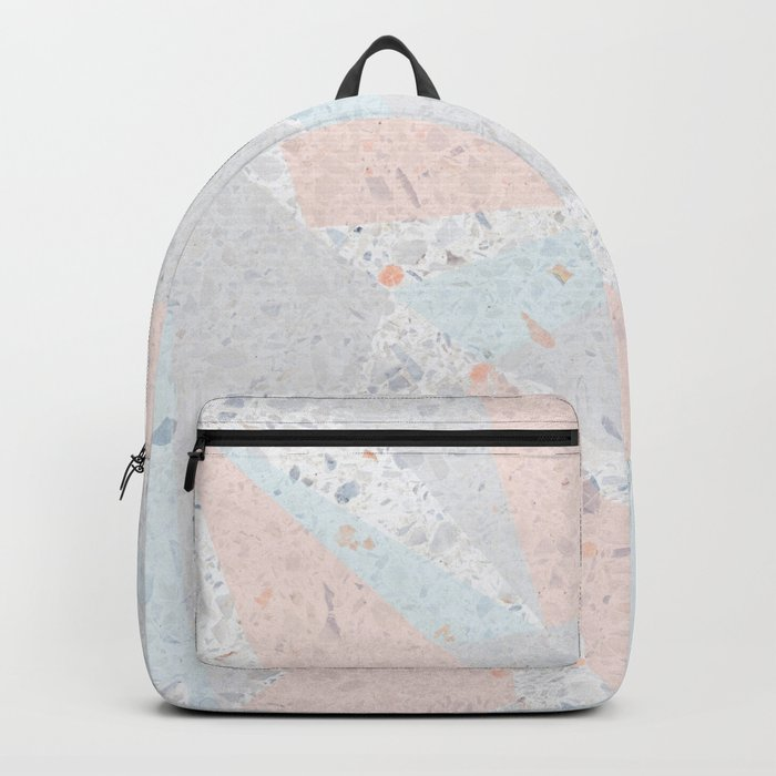 Soft terrazzo pastel with abstract geometric triangles Backpack