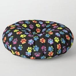 Black Rainbow Paw Print Pattern Floor Pillow