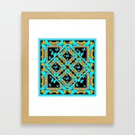 Decorative Western Style Turquoise Butterflies  Black Gold Patterns Framed Art Print